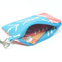 Turquoise and Coral Arrow Style Coin Purse With Wristlet