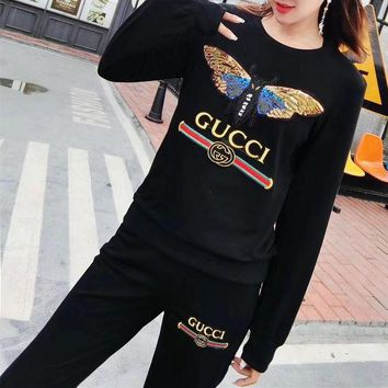 PEAPJ. Gucci' Women Casual Fashion Sequin Butterfly Letter Embroidery Long Sleeve Trousers Set Two-Piece Sportswear