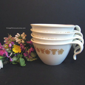 Vintage Corelle Corning Cups, Set of 4, Buttery Gold Design, Vintage Cups, Teacup, Coffee Cup
