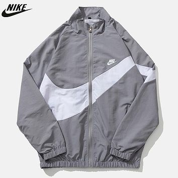 NIKE  New fashion letter  hook print long sleeve hooded trench coat windbreaker Gray