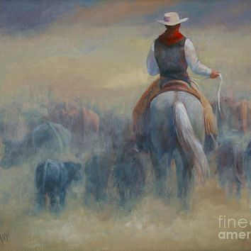 Rush Hour Traffic   Western Art Cowboy Painting Painting by Kim Corpany - Rush Hour Traffic   Western Art Cowboy Painting Fine Art Prints and Posters for Sale