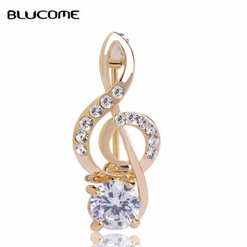 Gold Zircon Note Brooches Bouquet Crystal Corsage - Hijab Pin Up Clip