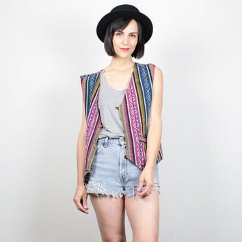 Vintage 90s Vest Embroidery Striped Vest 1990s Jacket Boho Striped Waistcoat Soft Grunge Wooden Toggle Button Vest M Medium L Large