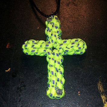 Yellow and purple Paracord Cross necklace / key chain / rear view mirror hanger