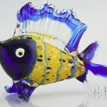 Blue / Yellow Hand-Blown Glass Sculpture