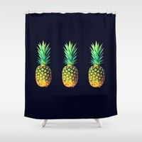 Night Knights Pineapples Shower Curtain by OldGeneration