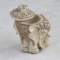 Intricately Carved Stone Decorative Elephant; Handcrafted