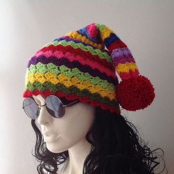 Womens Pom Pom Hat, Slouchy Beanie, Knitted Hat, Womens Beanie, gift for her