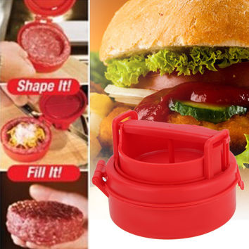 Kitchen Tools Stuffed Burger Press Hamburger Grill BBQ Patty Maker Plastic Cooking  Accessories DIY Meat Poultry Tools