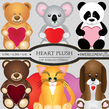 Valentines Clipart Digital Teddy Bear Plush Animal Clipart - 6 Instant Download Digital Clip Art Images - Printable Valentines Photo Props