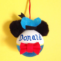 Handmade Personalized Donald Duck Mickey Mouse Inspired Ornament - 60mm - Shatterproof