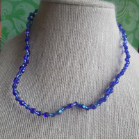 "8"" Handmade Beaded Blue Choker Necklace"