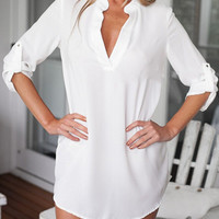 White Stand Collar Roll-up Sleeve Long Blouse - Choies.com