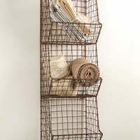New Country Farmhouse General Store Small Wire Wall Bin/Basket Industrial