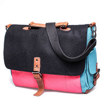 Something Useful Messenger Bag in Black/Blue/Pink
