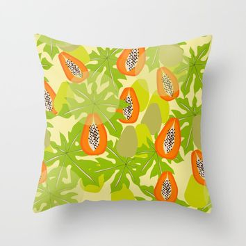 Papaya Storm Throw Pillow by mirimo
