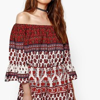 Suzan Off The Shoulder Boho Print Playsuit