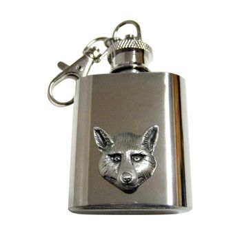 Textured Fox Head 1 Oz. Stainless Steel Key Chain Flask