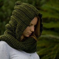 RESERVED Hooded Scarf, Olive Green Crochet Hood
