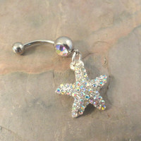 Sparkly AB Crystal Starfish Belly Button Jewelry Belly Ring