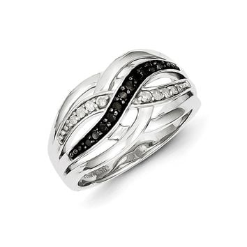 1/5 Ctw Black & White Diamond Woven Ring in Sterling Silver