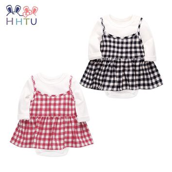 HHTU Baby Rompers Plaid Skirt Sets  Baby Girl Rompers Summer Girls Clothing Newborn Baby Clothes Cute Baby Jumpsuits Infant