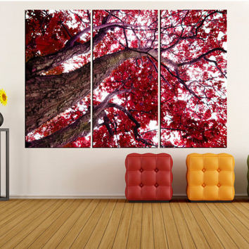 Extra large wall art canvas, autumn forest tree canvas print, extra large canvas art framed home decoration, 2s5