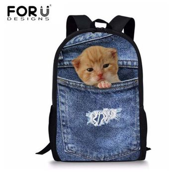 School Backpack FORUDESIGNS New Primary School Bags for Girls Denim Schoolbag Children Backpack Teenage Bookbags Kawaii School Bag Supplies 2017 AT_48_3