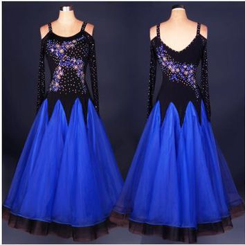 Ballroom dance costume sexy senior long sleeves diamond ballroom dance dress for women ballroom dance competition dresses