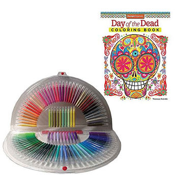 Day of the Dead Coloring Book By Design Originals and 100 Marker Set