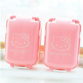 1Pcs New Pink Hello Kitty Pill Medicine Case Kit Jewelry Tablets Box Container Cosmetic Makeup Storage Box F0543