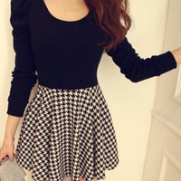 Black Puff Long Sleeve Plaid Skater Dress
