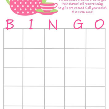 pink tea pot bridal shower personalized bingo cards