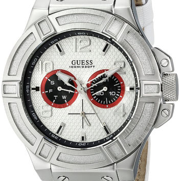 GUESS Men's U0451G1 Rigor Sporty Multi-Function White Genuine Leather Watch with Navy Blue & Red Accents
