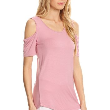 Pink Cold Shoulder Tunic Pastel Light Pink Top: XS/S/M/L