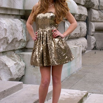 Party All Night Dress: Gold