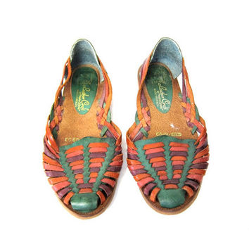 20% OFF SALE Vintage leather huaraches. Colorful huarache sandals. Leather flats. Women's sandals. Woven leather slip ons. 7.5