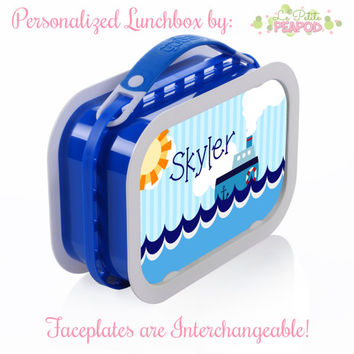 Nautical Boat Lunchbox - Personalized Lunchbox with Interchangeable Faceplates - Double-Sided Red White and Blue Nautical Tugboat Lunchbox
