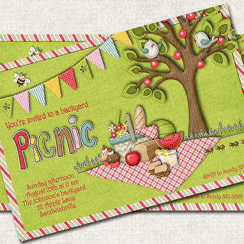 Picnic Party Invitation, green, red, Digital File, you print,
