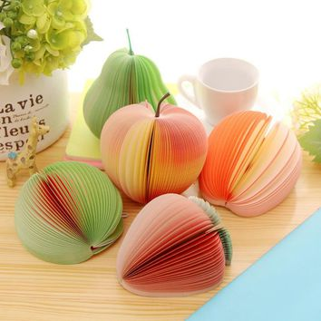 Stationery Cute Kawaii Lovely Fruits Novelty Fruits Series Peach Apple Notepad Memo Pad Watermelon Strawberry Pear Sticky Paper