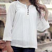 Cotton tunic, Mandala White