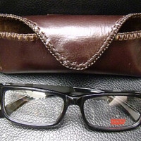 brown leather glasses case handmade small