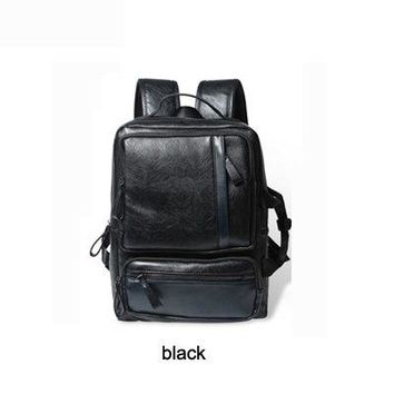 University College Backpack Vintage  Laptop  Men PU Leather Mochial Notebook School Travel Bag s Duffel Black B55AT_63_4