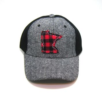 Minnesota  Herringbone Trucker Hat - Red Buffalo Check
