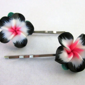 Hawaiian Flower, Bobby Pin, Hair Pin, Flower Pin, Pink Flower, Accessories, Bohemian Hair Pin, Boho, Tribal, Hipster
