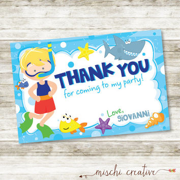 "Snorkel Boy Birthday Bash Swim Party DIY Printable  4"" x 6"" Thank You Card"