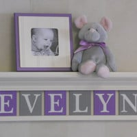 "Personalized Children Purple Grey Nursery Decor Sign on 24"" Linen (Off White) Shelf - 6 Wooden Plaques Gray and Lavender - EVELYN"