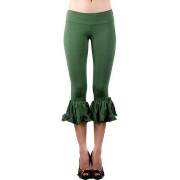 Bloomers - Womens Pants - Green Bloomers - Ruffled Pants - Ruffled Leggings - Organic Cotton Bloomers