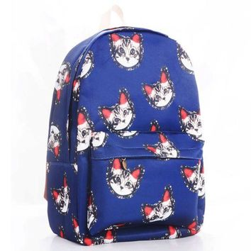 CREYUG3 Cats Korean Canvas Blue Backpack = 4887864260