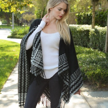 Black Quilted Tassel Poncho